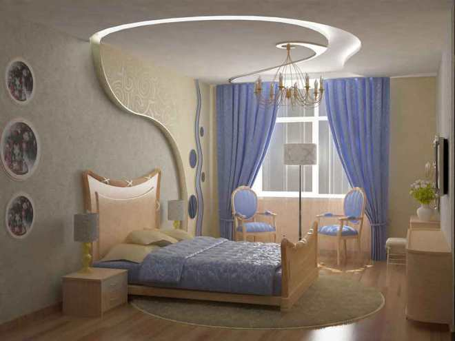 Bedroom Curtains Wonderful Blue Window Curtain Design Idea With Gorgeous Bed Unique Shaped Design Also Elegant Design Drop Ceiling Light