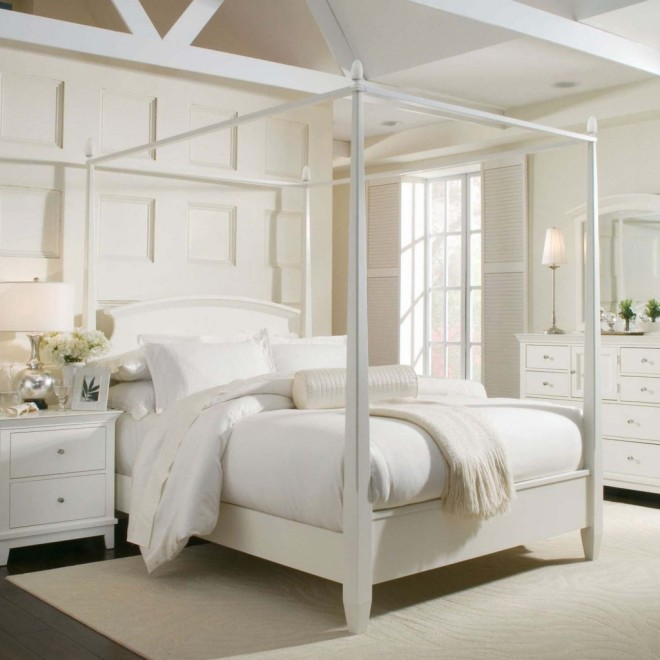 Canopy Bed Ideas For Bedroom Decorating Come With White Scheme Using White Cushions With Also Wall Paneling And Table Lamp On Bedside Table Decor Ideas X