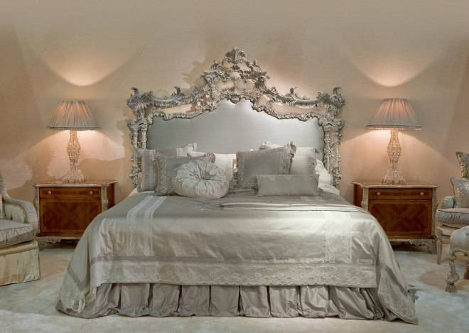 Charming Rococo Style Bedroom Decor For You With Having Grey Shade Table Lamp And Wonderful Silver Carving Headboard Also Silver Quilt Bed And Wooden Nightstand Table