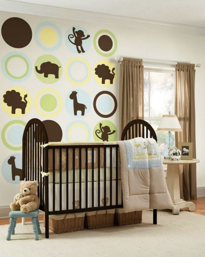 Cozy Jungle Animal Baby Wall Mural In Enjoyable Jungle Baby Nursery Room Decor Including Curved Solid Cherry Wood Baby Cribs And Cream Light Blue Jungle Baby Beddin X