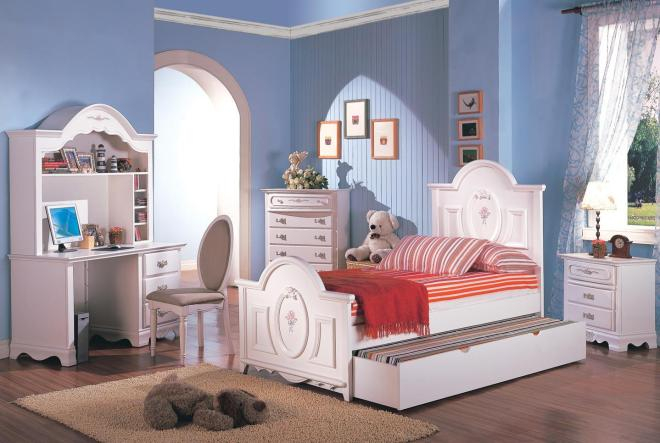 Girls Nuance Serene Blue Girls Bedroom Ideas Equipped With Pretty White Bed Ideas Design Likewise Nice Wooden Storage Design